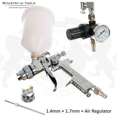 2 Nozzles HVLP Spray Gun 1.4mm 1.7mm with Air Regulator Kit Auarita AS-1001G