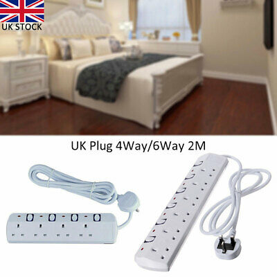 Power Strips 4/6 WAY Switched Extension Lead Socket Individual Switch 2M Cable