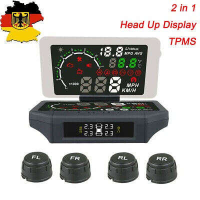 2 in 1 Car OBDII Head Up Display KMH/MPH TPMS Monitor Support Android IOS