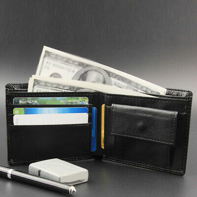 Men's Leather Slim Coin Pocket Wallet Bifold Credit ID Card Holder Purse