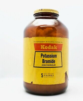 Kodak Potassium Bromide Glass Jar 5 Pounds Film Development Chemicals