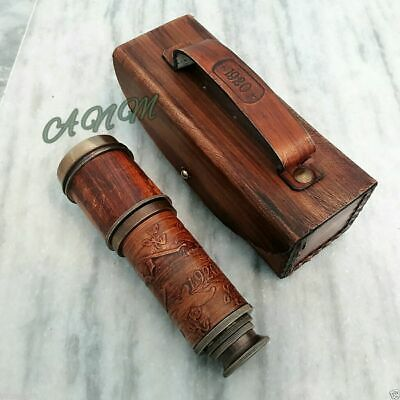 Antique Brass Engraved Telescope Nautical Leather Grip With Leather Box Marine