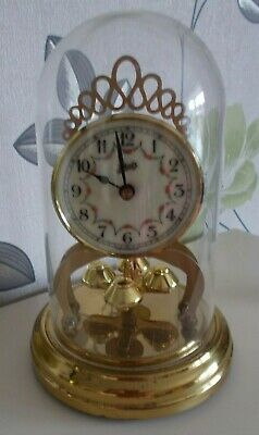 VINTAGE SCHATZ ANNIVERSARY CLOCK, WITH PLASTIC DOME. BATTERY 21 cm TALL.