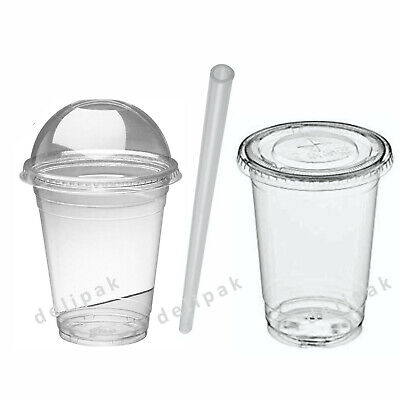 Disposable Smoothie Cups Domed Flat Slot Lids Clear Plastic Straws Slush Juice