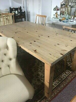 Vintage Solid Pine Country Kitchen Dining Table Setting For 8