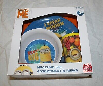 NEW Despicable Me 3 Minions Baby Toddler Kid Dish Set Plate Bowl Cup Blue