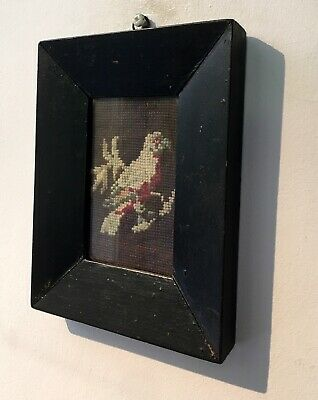 Small 19th Century Antique TAPESTRY EMBROIDERY Bird Sitting on a Branch
