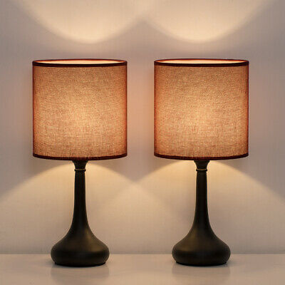 Set of 2 Bedside Table Lamps Wine Red Line Fabric Lampshade Black Lamp Base