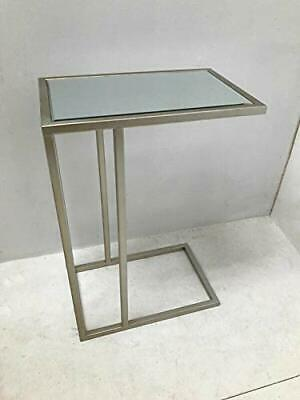 Hooks Interior Mirrored Metal Silver Rectangle Bedside Table, Sofa Table