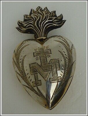 Rare  Stunning Antique French Sterling Silver Sacred Heart of Mary Ex voto
