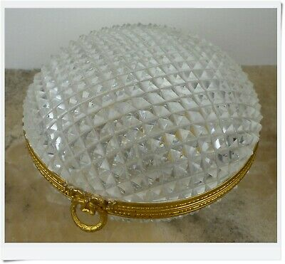 Antique exquisite French Cut Crystal faceted  & bronze Casket jewelry Box XIX