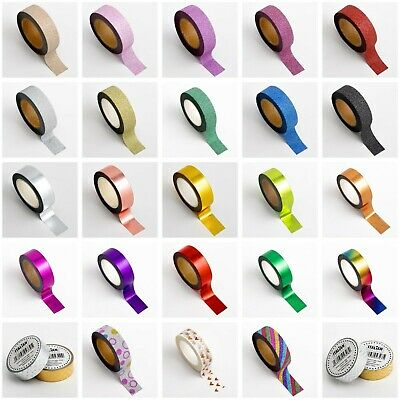 Glitter/Foil Washi Tape 15mm x 10m Repositionable Adhesive Roll