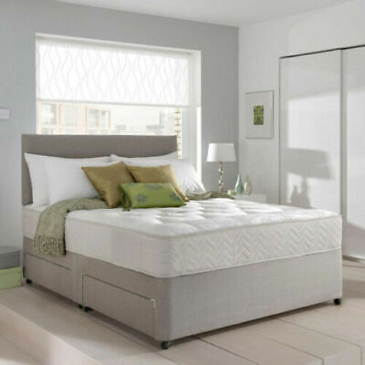 MEMORY FOAM SUEDE DIVAN BED SET WITH MATTRESS AND HEADBOARD 3FT 4FT6 Double 5FT