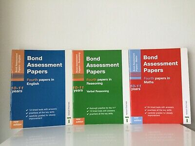 3 x Bond Assessment Papers  in English, Verbal Reasoning and Maths 10-11 Years