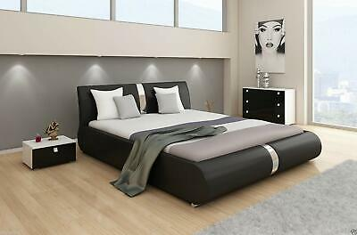 Canali Double Or King Size Leather Bed Black & White + Memory Foam Mattress Beds