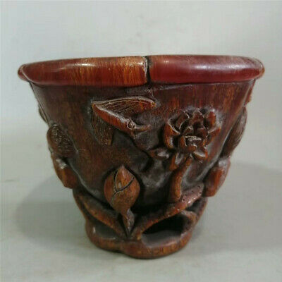Collection Chinese Exquisite Ox horn Hand-carved lotus Ox horn cup wine cup