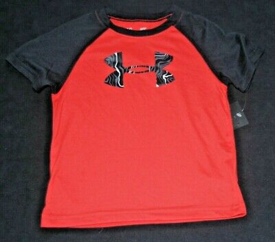 Under Armour Toddler Boys Red Black Raglan Loose Fit Shirt Sports 2T New