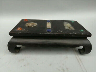 Collect Chinese Wood inlay Jade gem Hand-made Display Stand Small square table
