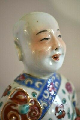 Old Antique Chinese Famille Hand Painted Robe Boy Holding Ruyi Sceptre Immortal