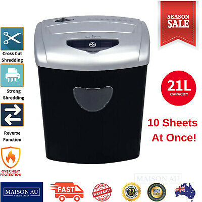 JVL Paper Shredder 21L Cross Cut 10 Sheets CDs Credit Cards Home Office Combo