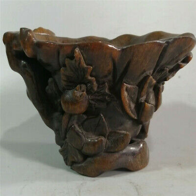 Collect China Exquisite Ox horn Hand-carved gourd pattern Ox horn cup wine cup