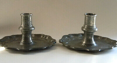 Pair of Liberty & Co Tudric Pewter English Candle Sticks #01036 Archibald Knox?