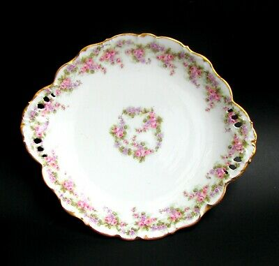 Limoges Bridal Wreath Cake Plate Antique Pink Roses Serving Plate c.1900 - 1914