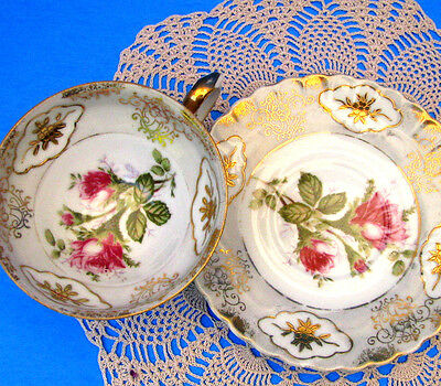 Shafford Hand Painted Teacup & Saucer Pink Roses Gold Floral Tea Cup & Saucer