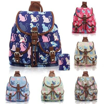Womens Canvas Backpack Small Fashion Rucksack Ladies Girls Medium Shoulder Bag