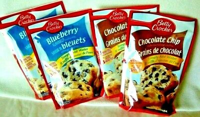 Betty Crocker Muffin Mix 4 Pack lot 2 Blueberry 2 Chocolate Chip Just Add Water