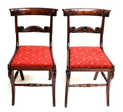 Pair of Antique Sheraton Flamed Mahogany Bar Back Dining Chairs [5379]