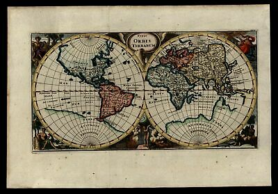 World Map double hemispheres decorative 1711 Cluver map huge Southern continent