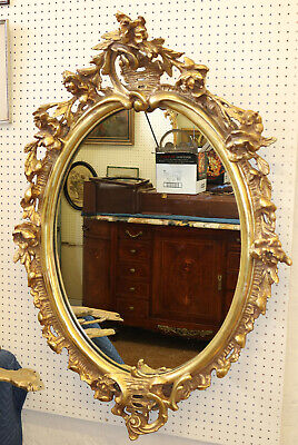 Incredible Gilded French Rococo Oval Wall Mirror C 1940s