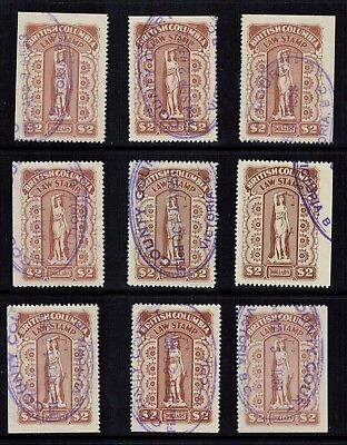 "Canada B.C. Law Revenue #BCL 44 1948 $2 Red Brown x 9 Used VF in ""mini-sheet"""