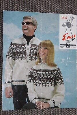 Original Vintage Knitting Pattern Emu Fiord Dale Norwegian Sweater Cardigan