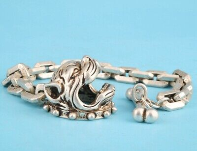 China Tibet Silver Hand Carved Dog Head Bracelet Good Luck Gift Collection
