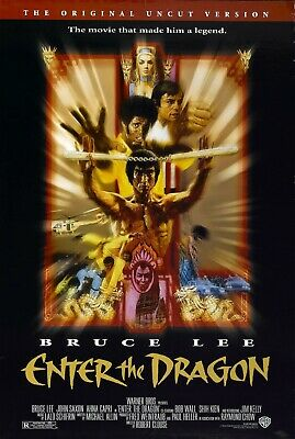 """ENTER THE DRAGON Movie Silk Fabric Poster Bruce Lee Kung-Fu 12/""""x16/"""""""