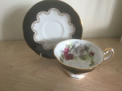 Collectable Vintage Queen's 'Ebony' Fine Bone China Teacup & Saucer