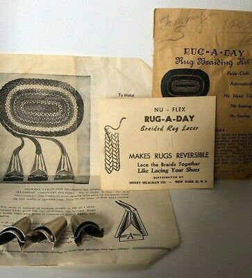 Antique Rug Braiding Kit,Rug-A-Day, Directions & Hardware (3 Folders) No sewing
