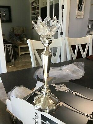 "Godinger Silver Art Co. 13"" Tall Silver Plated Candlesticks W/Crystal Lotus Tops"