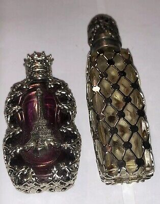 2 Ornate Miniature Perfume Bottle Eiffel Tower, One Silver ?  Filigree