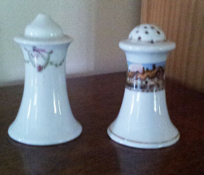 Salt and pepper shakers, porcelain, not matching, vintage