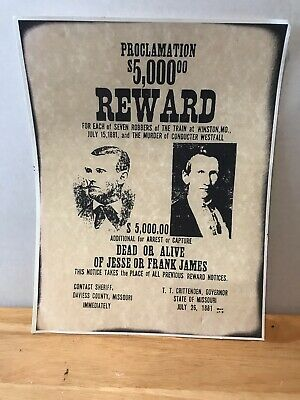 Replica Old West Wanted Poster Of Jesse And Frank James. 8 X 10