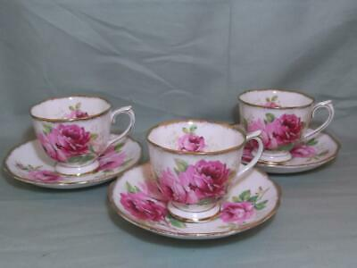 3 Royal Albert American Beauty Bone China Tea Cups & Saucers