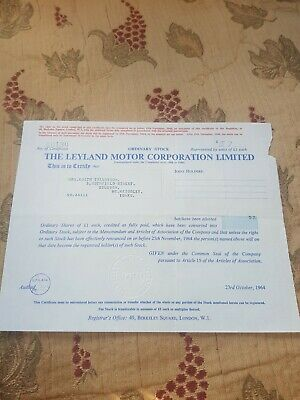BRITISH LEYLAND SHARE CERTIFICATE X 57 dated 23rd  october 1964
