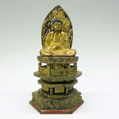 Antique Chinese or Asian carved gilded wood Buddha shrine figure