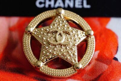 Chanel Buttons Large 1 inch 24 mm Logo CC lot of 2  Brooch metal Star