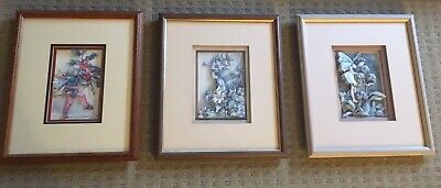 Vintage. Cicely Mary Barker Fairy 3D Pictures x 3 - Professionally Framed