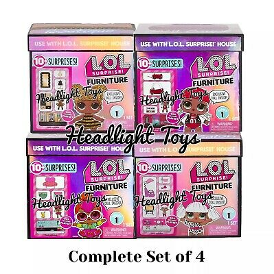 4 LOL Surprise Doll House Furniture Spaces Sets Bedroom Salon Boutique Coupe Bee