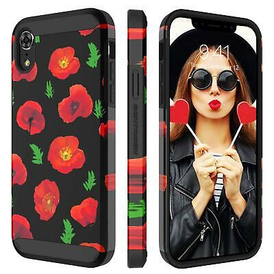 XR iPhone Case -  6.1 Inch 2018, Dual Layer Hybrid Hard PC Flower Cover Soft Rub